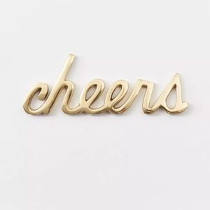 "West Elm ""Cheers"" Brass Word Object w/ OG Box"
